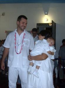 Os padrinhos, Luiz Felipe e Ana Cristina com seu mais novo afilhado Joaõ Pedro