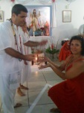 E Ana Lúcia, representando seu marido Flávio Augusto, recebendo o Prêmio das mãos de Fábio